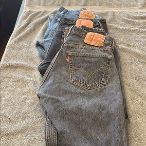 Bundle lot 3 Levi's 501 button fly jeans 32 X 34